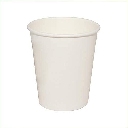 Virsus 100 vasos de cartón blanco para agua, 240 ml, color blanco, biodegradables