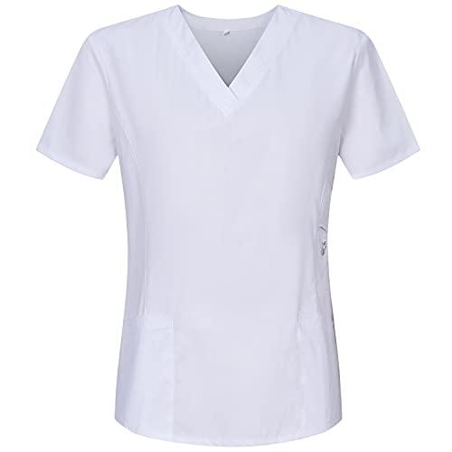 MISEMIYA - Casaca Mujer Mangas Cortas Uniforme Laboral CLINICA Estética Limpieza Veterinaria SANIDAD Dentista HOSTELERÍA Ref.707 - S, Blanco