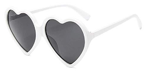 Lovelegis Gafas de sol de corazón para mujer - lolita - transparente - niña - polarizadas - uv400 - montura blanca - lentes negras