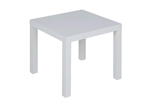 Mainstays Parsons Contemporary Design End Table, Hollow core construction with MDF laminate (White)