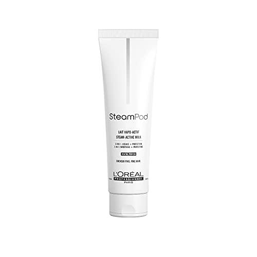 L\'Oréal Professionnel Paris SteamPod Glättungsmilch für feines Haar, Hitzeschutz-Pflege, langanhaltender Glanz mit Anti-Frizz-Wirkung, regeneriert das Haar & macht es geschmeidig, 150 ml