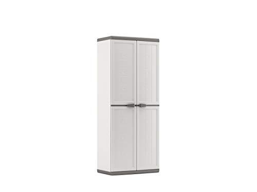 KETER | Armoire Utilitaire JOLLY , Blanc-Gris, 68 x 39 x 166 cm, Plastique