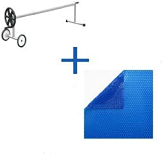 International Pool Protection Pack COBERTOR TERMICO DE 600 MICRAS (7x3.5m) + ENROLLADOR TELESCOPICO DE 81mm.