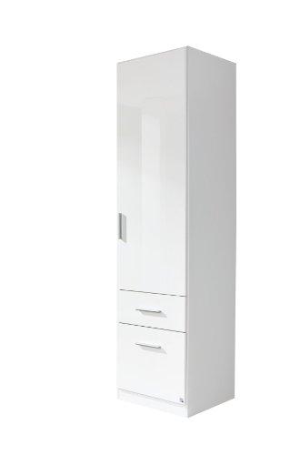 Rauch Möbel Celle Schrank Drehtürenschrank in Weiß / Hochglanz Weiß, 1-türig mit 2 Schubladen, inkl. Zubehörpaket Basic 1 Kleiderstange, BxHxT 47x197x54 cm