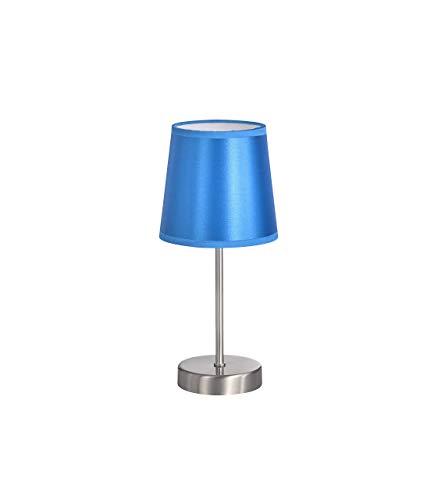Action by WOFI Cesena Lampe de chevet à 1 ampoule Blanc Diamètre env. 14 cm Hauteur env. 32cm, Métal Métal, Abat-jour (brillant) : bleu clair, 32