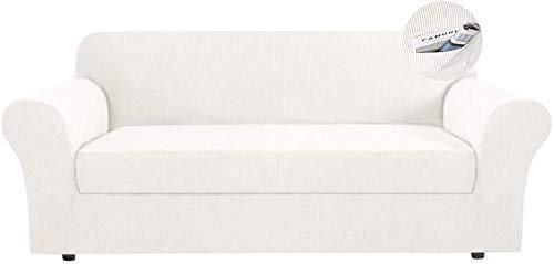 Tramo Jacquard Funda de sofá 2 piezas separadas Funda de sofá con sofá con funda de cojín independiente Poliéster Spandex Protector de muebles Lavable para sala de estar Perro Mascota,White,122*172cm