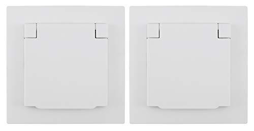MC POWER - 2er-Pack Schutzkontakt-Steckdosen IP44 | FLAIR | 250V~/16A, UP, Klappdeckel, weiß, matt