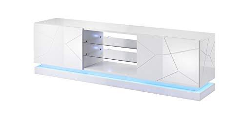 Tv Schrank QUI 200, Lowboard, Unterschrank, Fernsehentisch, Fernsehenschrank mit 2 Türen und LED Beluchtung (Weiß Hochglanz)