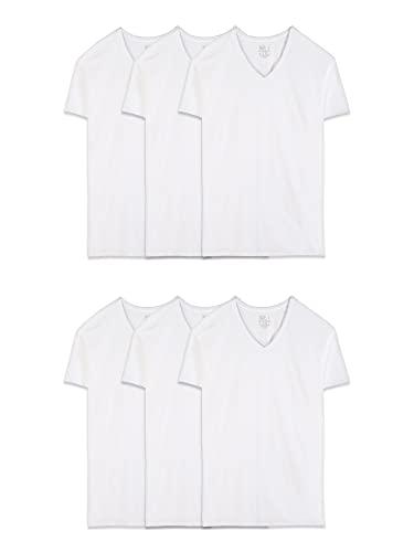 Fruit of the Loom Men's 6-Pack Stay Tucked V-Neck T-Shirt,White,Large