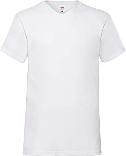Fruit of the Loom Valueweight V-Neck T-Shirt Weiss XXL