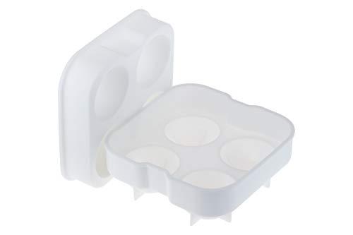 Forma De Gelo 04 Esferas 45mm Em Silicone Com Tampa Weck Branco