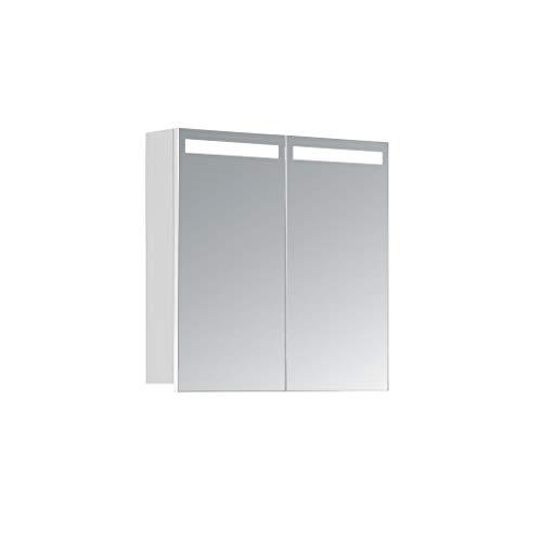 HAPA Design Spiegelschrank Orlando weiß mit LED Beleuchtung in Lichtfarbe 5000K, VDE Steckdose, Softclose Funktion und verstellbaren Glas Ablagen. Komplett vormontiert. SGS geprüft. (60 x 60 x 14 cm)