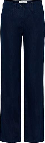 BRAX Damen Style Farina Leinenhose mit legerer Silhouette Hose, Navy, 38