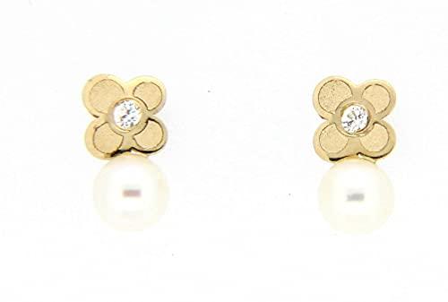 Pendientes perla oro amarillo 18K [8-2001-P]