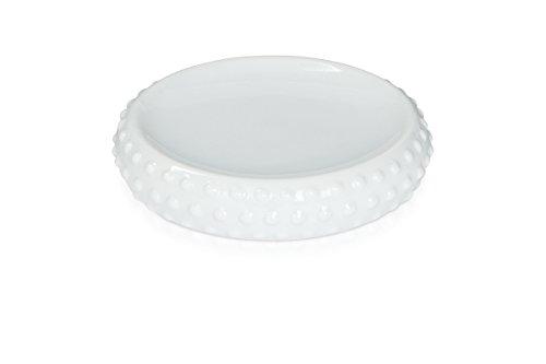 möve Pearl Seifenschale 12 x 3 cm aus Keramik, snow
