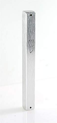 Boîtier de Mézouza argenté Dessin Aluminium Art judaïque 12 cm hidour Mitzvah idée Cadeau Protection Foyer Mitzvah juive décoration