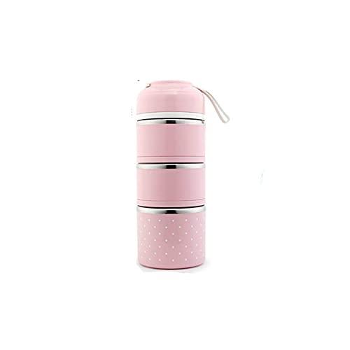 3-stufige Brotdose Edelstahl Tragbarer Aufbewahrungsbehälter für Lebensmittel Brotdose Bento Tragbarer Outdoor-Auslaufsicher für Schulkinder - pink 3-lagig, a1