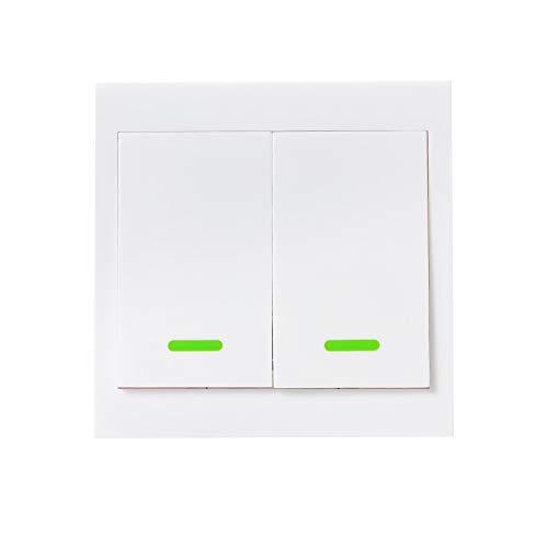 eWeLink 1PCS Botón Pulsador de Pared Interruptor de Control Remoto 433MHz Tipo 86 2 Gang Interruptor de Encendido/Apagado Transmisor de Control Remoto Inalámbrico RF con Pegatina Posición Flexible