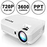 POYANK WXGA 3600Lumens LCD Projector Full HD 1080P Support, Native 720P Compatible with HDMI, USB, SD/TF Card, AV, TV Box, 200' Large Display for Home Entertainment, PPT Presentations (White)