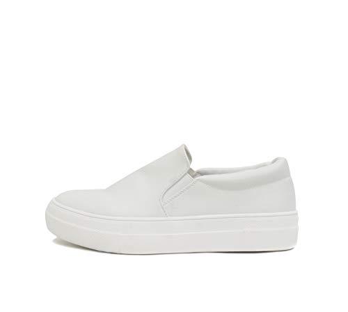 Soda Hike ~ Slip On Double Layer Foam Padded Cushion Sock Fashion Sneakers (8, White (PU))