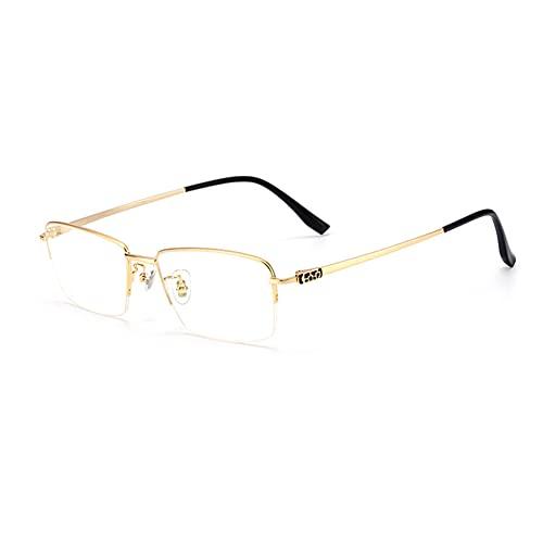 HQMGLASSES Gafas de Lectura de Alta definición Anti-Azul Enfoque múltiple Progresivo los Hombres, Marco de Titanio Puro Ultraligero HD de Resina de Resina de Resina Dioptrías +1.0 a +3.0,Oro,+1.75