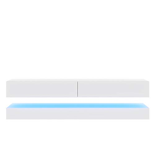 Aviator Mueble para TV con Led Azul Blanco Mate y Blanco Brillante, 140 x 34 x 45 cm