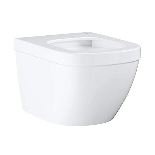 """GROHE Euro Keramik , WC (Toilette, Klo) """"Compact"""", Tiefspüler, spülrandlos – Wandhängend, Weiß, ohne Deckel mit Montageset , 39206000"""