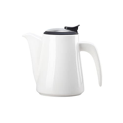 Jarra de agua de cerámica con mango antiquemaduras, de lujo, resistente a altas temperaturas, para té perfumado, bebidas, jarra de té helado (color: blanco)