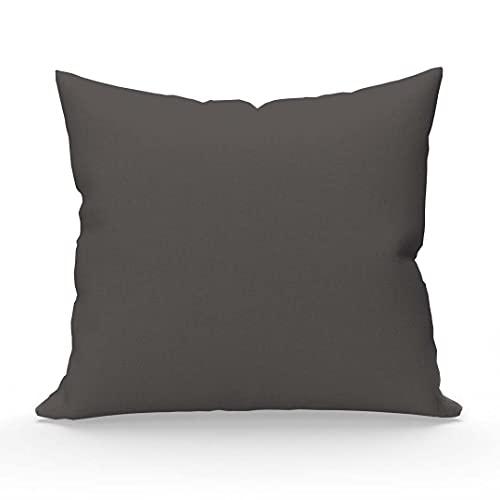 Soleil d'ocre Funda de Almohada Lisa de algodón 57 Hilos 65x65 cm Gris Oscuro
