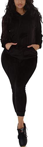 Jela London Damen Jogginganzug Nicki Velour Samt Kapuzen-Pullover mit Hose, Black 36-38 (SM)