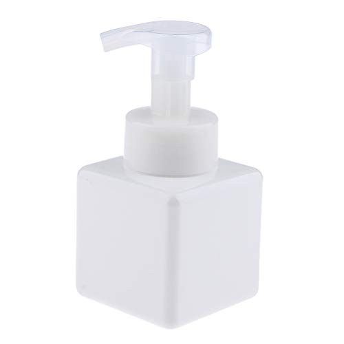 Amagogo Cuadrado Plástico del Envase del Maquillaje de La Botella de La Bomba del Dispensador del Jabón Espumoso 8oz / 250ml - Blanco, Individual