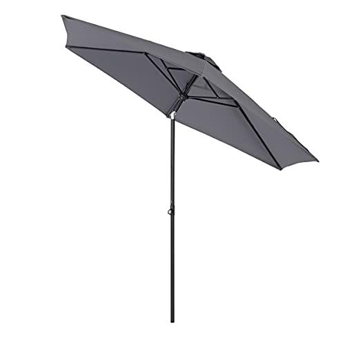 Sekey 270cm Teleskopisch Sonnenschirm | Tisch Sonnenschirm für Terrasse, Garten, Balkon Sonnenschutz UPF50+
