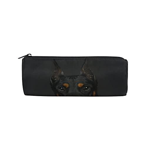 Doberman - Estuche para lápices con diseño de animales para perros, bolsa de papelería con cremallera, bolsa de maquillaje para mujeres, niños, niñas, adolescentes, niños, enfermeras, suministros