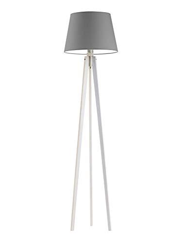 Lámpara de pie de madera CURACAO pantalla acero gris marco blanco madera