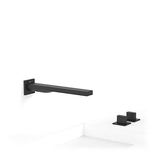 Monomando mural Slim-Tres con cuerpo empotrado incluido e indivisible, caño de 257 milímetros, volante, 26,4 x 15,1 x 5,2 centímetros, color negro mate (Referencia: 20223901NM)
