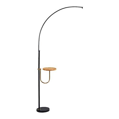 Lámpara de Pie Moderna lámpara de piso curvada negra moderna Lámpara de pie de arbol LED con unidades de estantería incorporada 59.1 'Lámpara de pie de lectura for la oficina de dormitorio de la sala