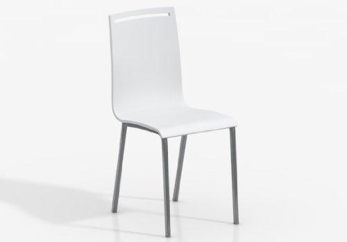 CANCIO Silla NERA - Asiento Madera Lacado Blanco/Patas Aluminio