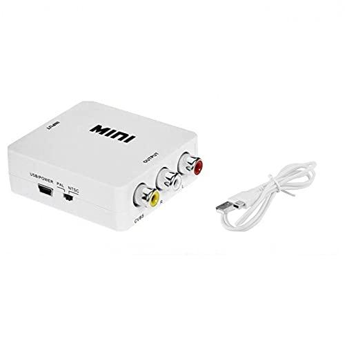 LeftSuper Mini Compuesto Compatible con HDMI a CVBS RCA AV Video Converter Adapter Video Converter Box HRCA Video Converter