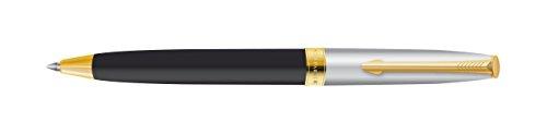 Parker Fusion Deluxe balpen, in zwart, met goud afgezet, blauwe inkt