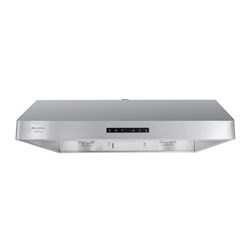 """Pacific Trusteam 30"""" Under Cabinet Hood, Auto Steam Cleaning, 900+ CFM Powerful Vent, Ultra Quiet Performance Hood, Stainless Steel Color, 2 Dual-Level LED Light Strips, High-Tech Touch Control (30'')"""