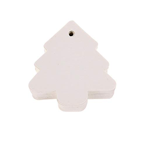 Santa Christmas Ornament 50pcs 6 * 6cm Multi-use Star Kraft Paper Wedding Label Party Gift Card Price Luggage Tags No Gift Box Christmas Holiday Decoration (Color : White Tree)