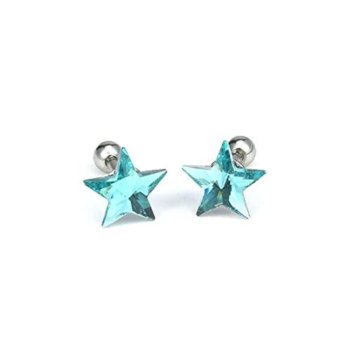 XKMY Pendientes de regalo para mujer, 2 piezas, pendientes de cartílago pequeños, de acero inoxidable, antialérgicos, 8 colores (color metálico: azul claro)