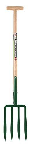 Outils et Nature Fourche à bêcher à Soie 4 Dents spatulées 23 cm - Manche Pomme 1m