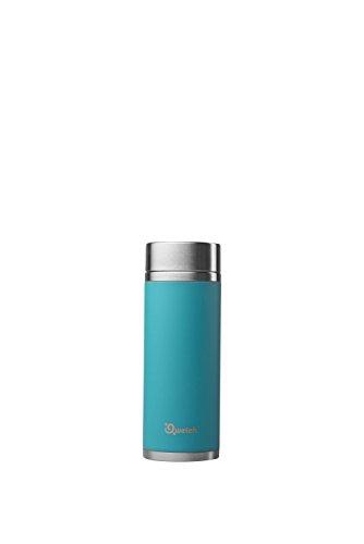 QWETCH - Mobile Isolierte Teeflasche Edelstahl 300 ml - Hält Ihre Getränke 5 Stunden warm und 7 Stunden kühl - BPA frei - 2 Filter inklusive - türkisblau
