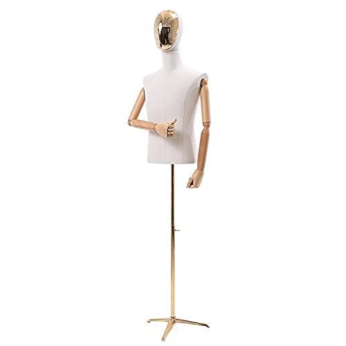 SCJ Torso de Cuerpo de maniquí Masculino Blanco, con Brazos de Madera y trípode de Metal, Soporte Ajustable Maniquí de Torso de Medio maniquí, para exhibición de Trajes (Color: Dorado)