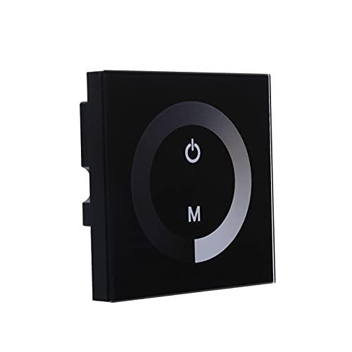 Nannigr Tira de luz LED, Interruptor de Pared con Interruptor de 12v, Interruptor de atenuación del Panel táctil, de un Solo Canal para el hogar(Negro)