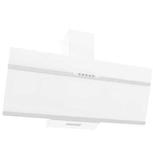 Dunstabzugshaube 90 cm Edelstahl und Hartglas Weiß