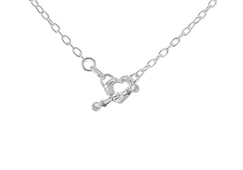 Tuscany Silver Sterling Silver Open Heart T-Bar Necklace of 44.5cm/17.5'