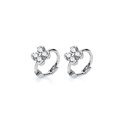 BEWITCHYU S925 Silver Four-Petal Flower Earrings, Diamond-Studded Student Earrings Silver, White Diamond