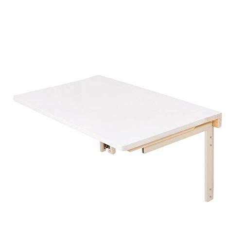 ZND Einfache Wand-Tisch Laptop Stand Schreibtisch Faltbare Multifunktions Küchenarbeitsplatte Schreibtisch Massivholz, 2 Größen (Farbe: Weiß, Größe: 90X50 cm), Weiß, 90X50cm